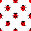Seamless vector pattern with insects symmetrical laconic background with bright ladybugs over white backdrop Royalty Free Stock Images