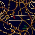 Luxury seamless vector pattern with jewelry chain and belts for fabric design.