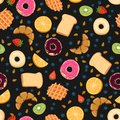 stock image of  Seamless vector pattern with kawaii breakfast things on black background perfect for wrapping paper backgrounds etc