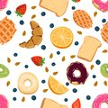 Seamless vector pattern with kawaii breakfast things on white background perfect for wrapping paper backgrounds etc