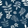 Blue and white flourish print.