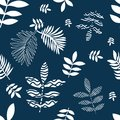 Blue and white flourish print.