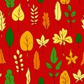 Seamless vector pattern with leaves illustration Stock Image