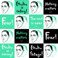 Seamless vector pattern with Lovecraft portrait and quotes