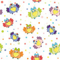 Seamless vector pattern with multi-colored birds Royalty Free Stock Photo
