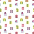 Seamless vector pattern with multicolored square holiday gifts with bows isolated on white background