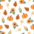 Seamless vector pattern with orange pumpkins, crop corn, maple leaves and bright sunflowers on white background. Autumn
