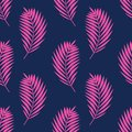 Seamless vector pattern with palm leaves. Pink tropical branches on dark blue background