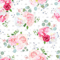 Seamless vector pattern with peony, rose, hydrangea and textured