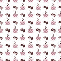 Seamless vector pattern with pink coffee cups with dots and grains on the white background Royalty Free Stock Photo