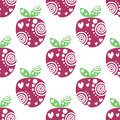 Seamless vector pattern with pink decorative ornamental beautiful strawberries and dots on the white background Royalty Free Stock Photo