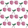 Seamless vector pattern with pink decorative ornamental cherries on the white background. Repeating ornament. Royalty Free Stock Photo