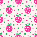 Seamless vector pattern with pink decorative ornamental cute strawberries and dots on the white background. Royalty Free Stock Photo