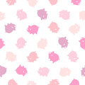 Seamless vector pattern - pink pig