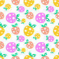 Seamless vector pattern with pink and yellow decorative ornamental cute strawberries and dots on the white background.