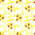 Seamless vector pattern with pizza and cheese on the white background. Royalty Free Stock Photo