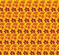 Seamless vector pattern with purple flowers and pink leaves on contrasting vivid yellow background