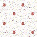 Seamless vector pattern with red Christmas balls with snowflakes and multicolored confetti on a white background Royalty Free Stock Photo