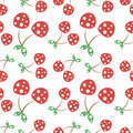 Seamless vector pattern with red decorative ornamental cherries on the white background. Royalty Free Stock Photo