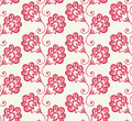 Seamless vector pattern with red doodle flowers. Royalty Free Stock Photography
