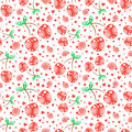 Seamless vector pattern with red ornamental cherries and decorative elements on the white background. Repeating ornament Royalty Free Stock Photo