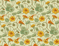 Seamless vector pattern with red and yellow nasturtium flowers and leaves on beige background