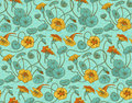 Seamless vector pattern with red and yellow nasturtium flowers and leaves on turquoise background