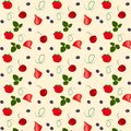 Seamless vector pattern with ripe strawberries, leaves and cherry .cartoon  hand drawing. Kitchen design for paper, textiles, wall Royalty Free Stock Photo