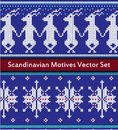 Seamless vector pattern set in red, blue and white colors.