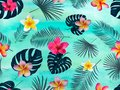 Seamless vector pattern with silhouette palm leaves and orchid on green background.