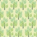Seamless vector pattern with simple trees in pale pastel greens