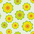 Seamless vector pattern with simple yellow flowers on light background
