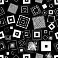 Seamless vector pattern. Squares and scribbles. Black and white