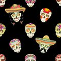 Seamless vector pattern. Sugar skull. Male Mexican black mustache with black hair gathered in pigtails