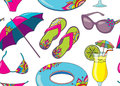 Seamless vector pattern with summer holidays seaside beach objec Royalty Free Stock Photo