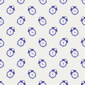 Seamless vector pattern. Symmetrical background with blue alarm clocks on the light background Royalty Free Stock Photo