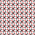 Seamless vector pattern. Symmetrical geometric abstract background with squares, rectangles and lines in black, white, red colors Royalty Free Stock Photo