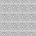 Seamless vector pattern. Symmetrical geometric background with black triangles on the white backdrop. Decorative ornament Royalty Free Stock Photo