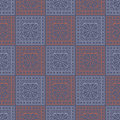 Seamless vector pattern. Symmetrical geometric background with blue and red squares and circles on the dark backdrop. Decorative o