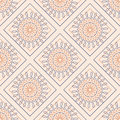 Seamless vector pattern. Symmetrical geometric background with colorful rhombs and circles on the pink backdrop. Decorative orname
