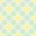 Seamless vector pattern. Symmetrical geometric background with green and yellow rhombus, squares and lines. Decorative repeating o Royalty Free Stock Photo
