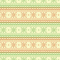 Seamless vector pattern. Symmetrical geometric background with red and green squares and flowers on the white backdrop. Royalty Free Stock Photo