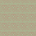 Seamless vector pattern. Symmetrical geometric background with red triangles on the green backdrop. Decorative ornament Royalty Free Stock Photo