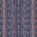 Seamless vector pattern. Symmetrical geometric background with squares and flowers on the dark blue backdrop. Decorative ornament