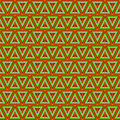 Seamless vector pattern symmetrical geometric background with triangles in gree and orange colors decorative repeating ornament Royalty Free Stock Photography