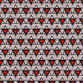 Seamless vector pattern. Symmetrical geometric background with triangles in red, black and grey colors. Royalty Free Stock Photo