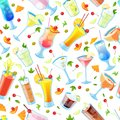 Seamless vector pattern with tropical alcohol cocktails. Beverages and drinks bar, restaurant white background Royalty Free Stock Photo