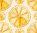 Seamless vector pattern with watercolor oranges Royalty Free Stock Photo