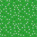 Seamless vector pattern with white music notes on a vivid green background
