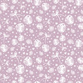 Seamless vector pattern with white ornamental cherries and decorative elements on the grey background. Royalty Free Stock Photo